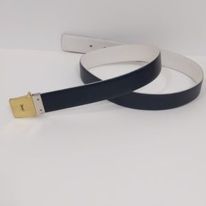 Yves Saint Laurent Blue Black and White Belt